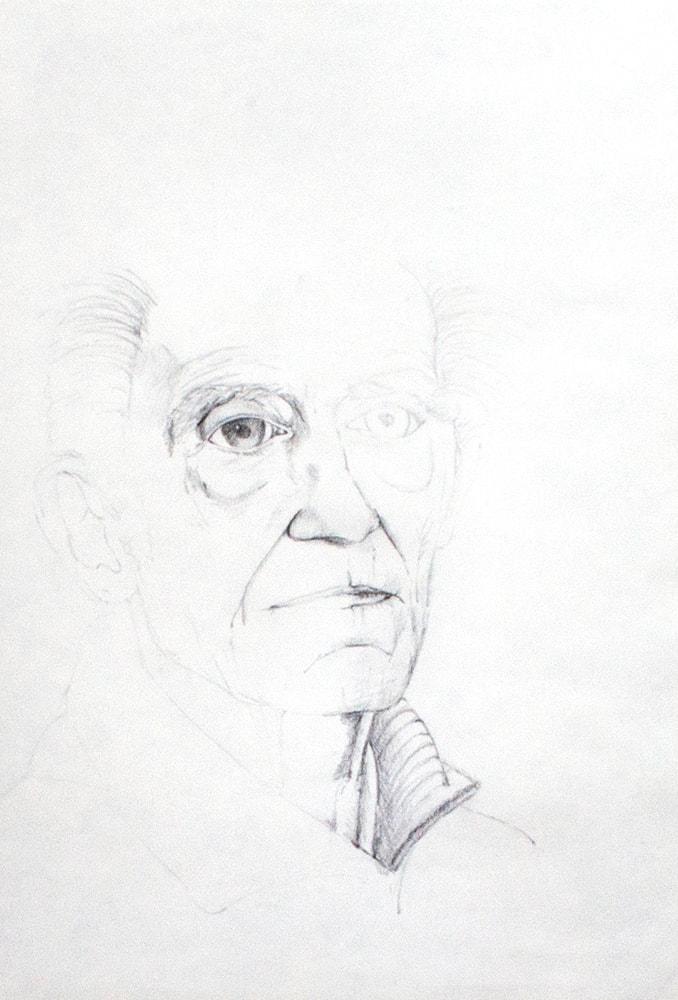 Zeichnung / Illustration / Portrait von einem alten Mann.