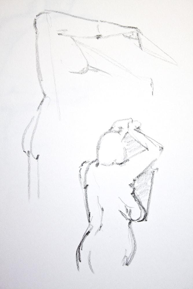 Zeichnung / Illustration / Aktzeichnung von einer stehenden Frau mit Fecher.
