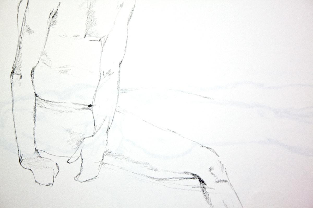 Zeichnung / Illustration / Aktzeichnung von einem sitzenden Mann.