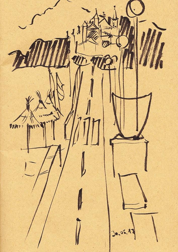 Zeichnung / Illustration / Skizze von einer Fahrradstraße am Strand von Palma.
