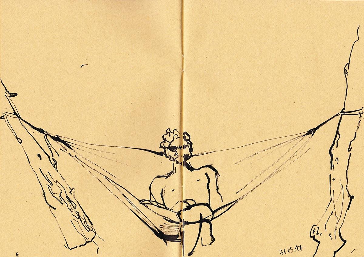 Zeichnung / Illustration / Skizze von einem Mann in der Hängematte.