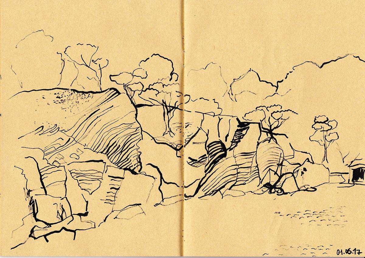 Zeichnung / Illustration / Skizze von Berglandschaft / Felsenlandschaft auf Mallorca.