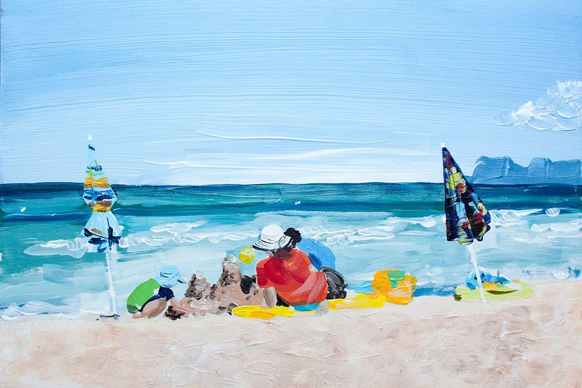 Gemälde / Bild / Acrylbild von einer Famile am Strand von Mallorca.