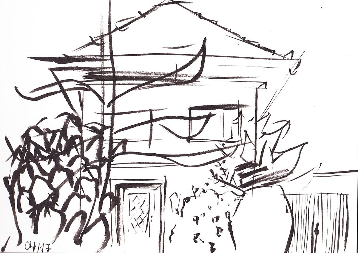 Zeichnung / Illustration / Skizze von einem Haus in Mannheim.