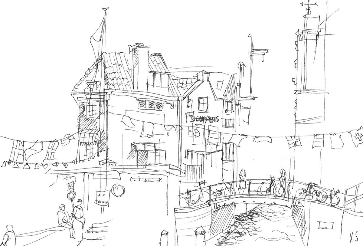 Zeichnung / Illustration / Skizze von einer Straßenlandschaft in Amsterdam.
