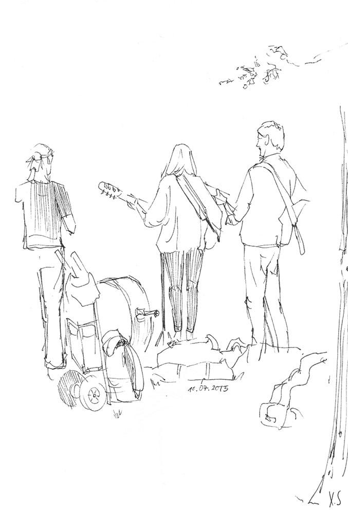 Zeichnung / Illustration / Skizze von einer Band die in einem Park in Amsterdam Musik spielt.