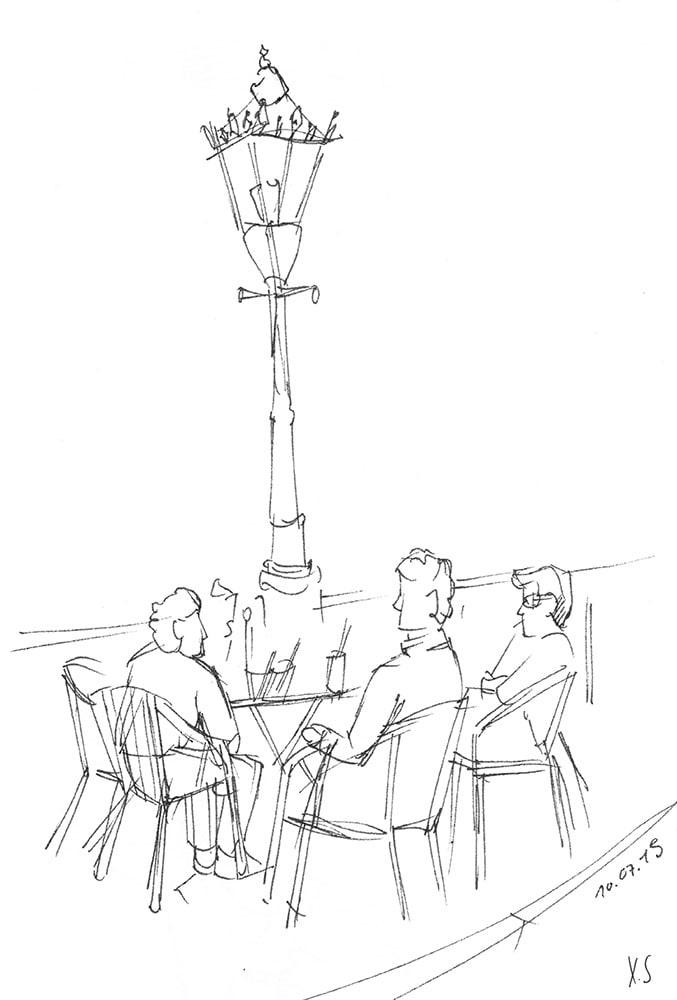 Zeichnung / Illustration / Skizze von Männer in einem Straßencafé in Amsterdam.