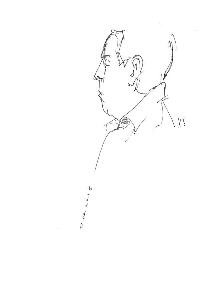 Zeichnung / Illustration / Skizze / Portrait von einem Mann in einem Café in den Niederlanden.
